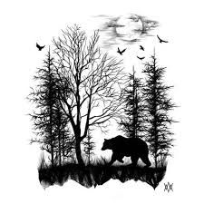 Image result for forest skyline sketch black
