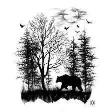 Image result for forest skyline sketch black