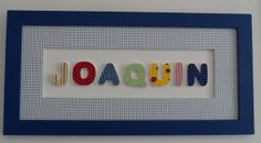 Quadro retangular em MDF  com nome de bebê, moldura externa pintada com tinta PVA látex, moldura central forrada com tecido de algodão. LetraS  de MDF forradas com tecido de algodão R$ 90,00