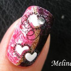 Valentine's Day Nail Art Design by Naiq N. Click the pick to see the video tutorial. #nailart #beauty #valentinesday