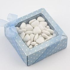 Mini Dot Quadretto Favour Box - Blue - Pack of 10 by Italian Options £4.99 - The Wedding Gift Company