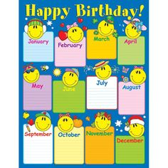 CHARTLET SMILEY FACE BIRTHDAY Birthday Chart Classroom Charts Class Displays