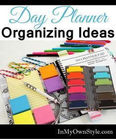 Day Planner Organizing Ideas