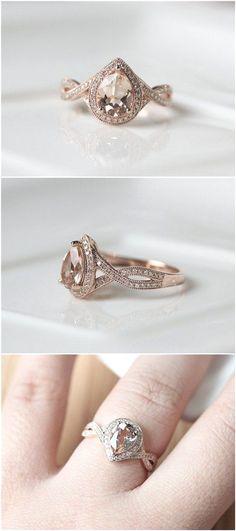 Pear Cut Morganite Rose Gold Engagement Ring / www.deerpearlflow...