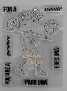 Volleyball Girl is a super cute sporty girl!! you are going to love it!!Set 3 x 4 includes 1 image and 6 sentiments.  Chica volleyball es una chica que le encanta el deporte, te encantará.Tamaño 3 x 4 incluye una imágen y 6 frases.
