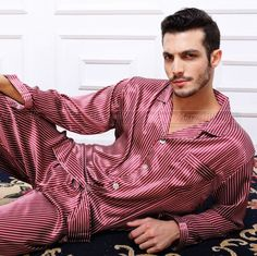 367ea6fdca Gifts Mens Silk Satin Pajamas Set Pajama Pyjamas PJS Sleepwear Loungewear  U.S