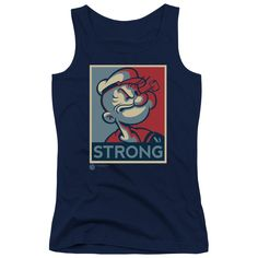 """Checkout our #LicensedGear products FREE SHIPPING + 10% OFF Coupon Code """"Official"""" Popeye / Strong - Juniors Tank Top - Popeye / Strong - Juniors Tank Top - Price: $29.99. Buy now at https://officiallylicensedgear.com/popeye-strong-juniors-tank-top-49946"""