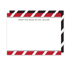 School Colors (Red/Black) Teacher Stationery (Note Card) - The bold angled stripe pattern in your school colors combined with a classic font makes this personalized/custom stationery the perfect gift for any teacher or school staff member with their name or monogram.