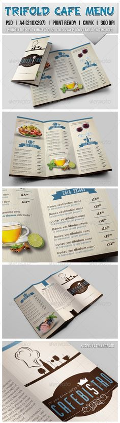 Trifold Cafe Menu — Photoshop PSD #trifold #flyer • Available here → https://graphicriver.net/item/trifold-cafe-menu/7748768?ref=pxcr