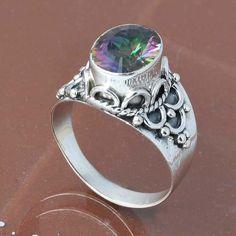 MYSTI TOPAZ 925 SOLID STERLING SILVER RING 4.39g DJR6724 #Handmade #Ring