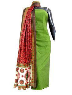 South Cotton Kurta & Blockprint Art Silk Dupatta-Dark Green