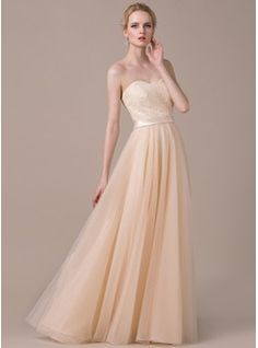 A-Line/Princess Sweetheart Floor-Length Tulle Charmeuse Lace Wedding Dress With Bow(s) (002058774) - JJsHouse