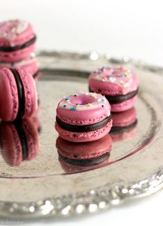 Chocolate Raspberry Donut Macarons