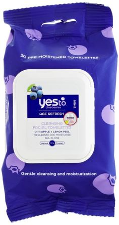 Yes To Blueberries Age Refresh Towelettes, they're Vegan and get great reviews from The Cosmetics Cop, Paula Begoun: http://www.paulaschoice.com/beautypedia-skin-care-reviews/by-brand/yes-to/yes-to-blueberries/_/Yes-to-Blueberries-Brightening-Facial-Towelettes (I alternate between these and the cucumber ones, depending on my mood. - Vegangela)