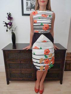 VINTAGE 60s ART DECO INSPIRED FLORAL MOD SHIFT DRESS 12 | eBay