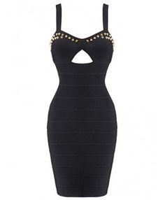 POSH GIRL Nomy Black Studded Bandage Dress