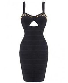 POSH GIRL Nomy Black Studded Bandage Dress