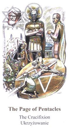 Page of Pentacles - Apocalypse Tarot by Swiatoslaw Nowicki Tarot Card Decks, Tarot Cards, Page Of Pentacles, Online Tarot, Tarot Meanings, Visionary Art, Apocalypse, Mystic, Symbols