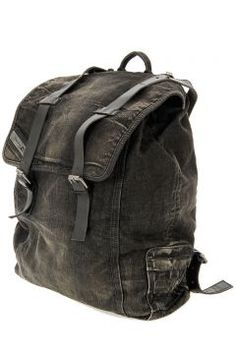 Diesel Men Denim backpack with leather details 98a42461193bc