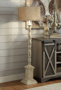 Cape May Antiqued White Floor Lamp room view White Floor Lamp, Lamp Shade Store, Large Furniture, Cottage Style, Entryway Tables, Flooring, Resin, Crestview Collection, Coastal Farmhouse
