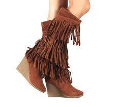 Womens Faux Suede Fringe Wedge Knee High Heel Boots in Black, Tan (5.5, Tan)