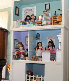 American girl dollhouse from entertainment center. Follow my dolls house ideas on pinterest for more inspiration