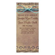 Rustic Country Vintage Burlap Wedding Program Rack Cards