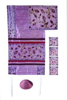 Raw silk Appliqued Tallit Set - Matriarchs in Pink, 34x75 by ZionJudaica. $388.30. Stunning raw silk Tallit set - small Pomegranate design on pink fabric & the 4 Matriarchs embroidered on the corners. Pieces of raw silk are embroidered on the Tallit that forms the motifs. Set includes The Tallit, Bag & Kipah.