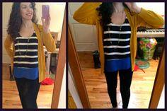Collective Concepts Fontana Striped & Colorblocked Tank (Stitch Fix), Pippa Necklace (Stella & Dot) Mustard Cardigan (Ann Taylor Loft) Levi's Demi Curve Skinny Jeans