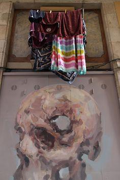 EMILIO CEREZO  'Puerta al sótano'  [Barcelona, Spain 2015] (2) Emilio, New Wall, Urban Art, Barcelona, Spain, Curtains, Artist, Prints, Cherry Tree