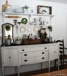 Dining Room Shelving Idea with Antique Buffet