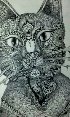 Zentangled cat by Abbie Jackson. Zentangle. Doodle. Cat.  Inspired by http://m.duitang.com/people/mblog/31500258/detail/