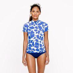 Hibiscus floral short-sleeve rash guard - rash guards - Women's swim - J.Crew