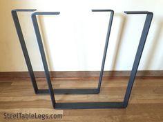 Metal Dining Table Legs - w/CLEARCOAT - 2.5 in. Steel Flat Bar - Modern/Industrial - Trapezoid