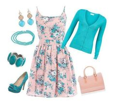 Spring Outfit - sweet little floral dress. Love it all.