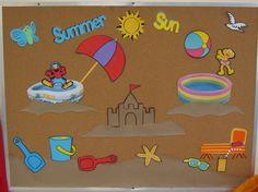 summer bulletin board ideas for preschool Beach Bulletin Boards, Elementary Bulletin Boards, Classroom Bulletin Boards, Classroom Fun, Beach Theme Preschool, Preschool Scavenger Hunt, Kindergarten Activities, Preschool Crafts, Fish Paper Craft