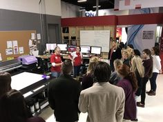 Trisha, our Graphics Production Manager,  showcasing our printing processes to the students.  #TeamIon