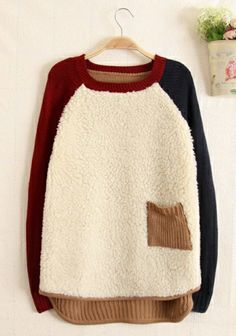 Khaki Wool Flocking Round Neck Long Sleeve Patchwork TOPS