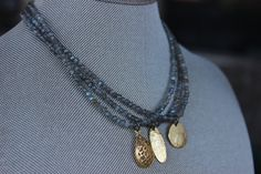 Labradorite Choker necklace with a Hammered Brass Pendant | Choker | Beaded Choker | Labradorite Necklace | Brass Pendant | Valentines