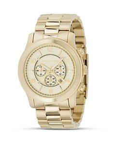 <3 MICHAEL Michael Kors Oversized Chronograph Goldtone Watch, 44 mm | Bloomingdale's