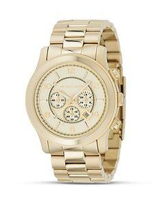 <3 MICHAEL Michael Kors Oversized Chronograph Goldtone Watch, 44 mm | Bloomingdale's