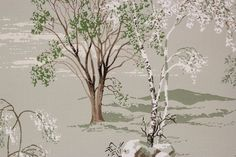 1950s Vintage Wallpaper Scenic Trees Mountains on Green by the   Etsy