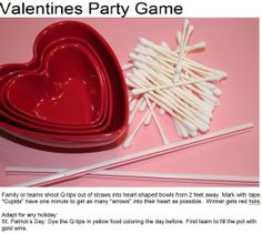 Valentine's Day themed OM stim game. Child (playing Cupid) blows Qtips into a heart shaped bowl through a straw. Such a fun idea!