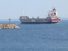 Freighter passing through the Round Island channel near Mackinac Island, Michigan