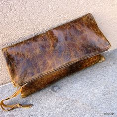 Fold Over Distressed Brown Leather Zipper Pouch
