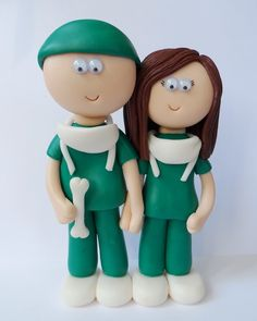 Orthopedic Surgeon Bride & Groom wedding cake toppers/figurines. Handmade, personalised to look like the couple getting married. NOT edible, last a lifetime. #weddings #surgeon #caketoppers