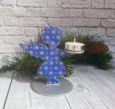 Christmas angel Candle holder blue Wooden candle holder