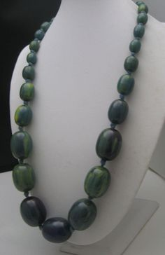 Authentic Creamed Spinach Bakelite Beads Necklace 26 inches from antiquesalad on Ruby Lane