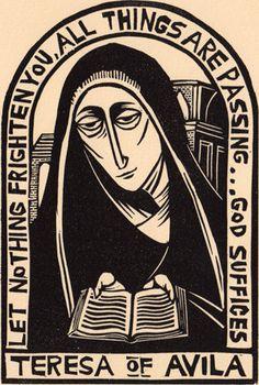 Teresa of Avila linocut Chritian prayer saint icon by wORKINGaRTs Ex Libris, Saint Teresa Of Avila, Bible Images, Catholic Saints, Roman Catholic, Biblical Art, Christian Art, Christian Church, Sacred Art