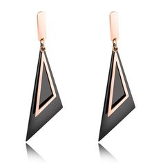 >> Click to Buy << LINSOIR 2017 Luxury Rose Gold Color Triangle Geometric Earrings for Women Fashion Vintage Black Triangle Drop Earrings Jewelry #Affiliate